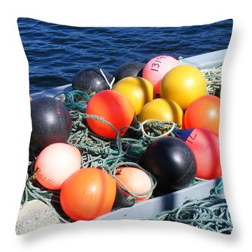 Colorful Buoys Throw Pillow by Barbara Griffin