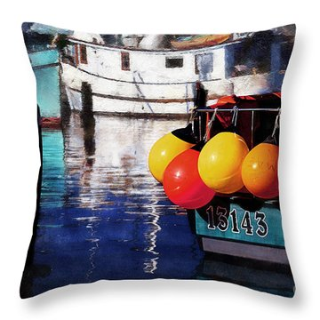 Colorful Buoys Throw Pillow