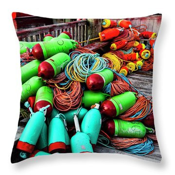 Colorful Buoys On The Wharf, Peggy's Cove Throw Pillow
