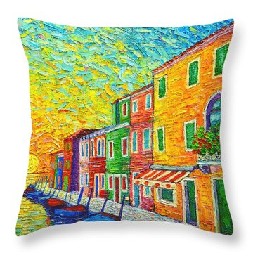 Colorful Burano Sunrise - Venice - Italy - Palette Knife Oil Painting By Ana Maria Edulescu Throw Pillow