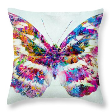 Colorful Butterfly Art Throw Pillow by Olga Hamilton
