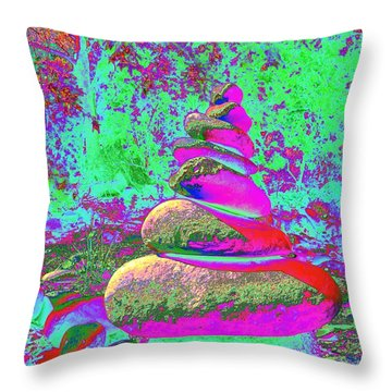 Colorful Cairn Throw Pillow