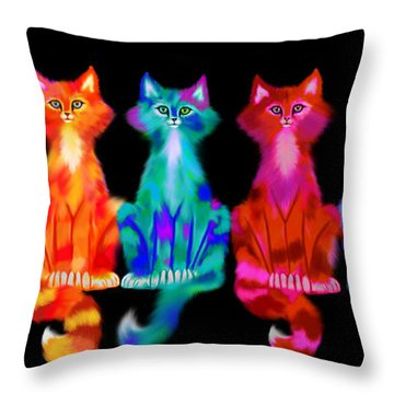 Colorful Calico Cats Throw Pillow