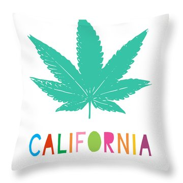 Colorful California Cannabis- Art By Linda Woods Throw Pillow