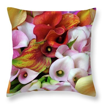 Colorful Calla Lilies Throw Pillow