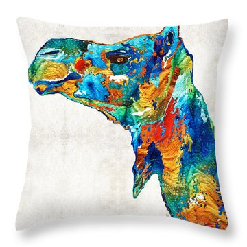 Colorful Camel Art By Sharon Cummings Throw Pillow