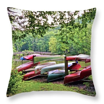 Colorful Canoes At Hungry Mother State Park Throw Pillow