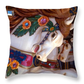 colorful carousel horse photograph - Romping Redhead Throw Pillow