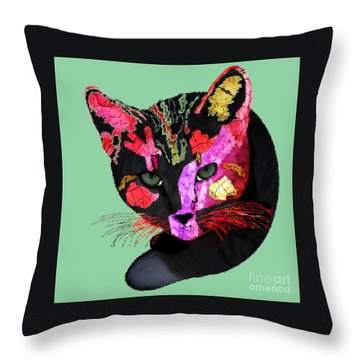 Colorful Cat Abstract Artwork By Claudia Ellis Throw Pillow by Claudia Ellis