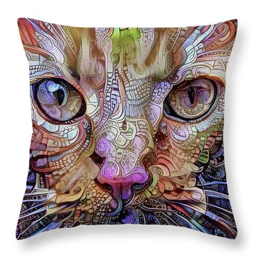Colorful Cat Art Throw Pillow
