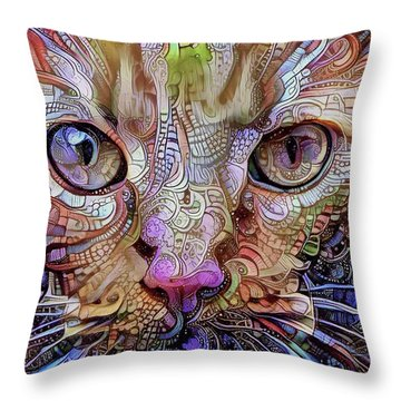 Colorful Cat Art Throw Pillow by Peggy Collins