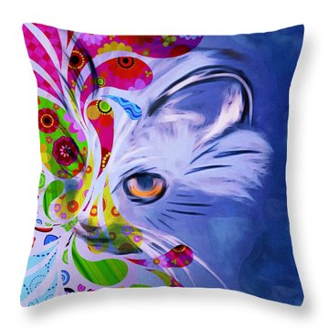 Colorful Cat World Throw Pillow