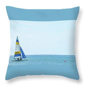 Colorful Catamaran 3 Delray Beach Florida Throw Pillow