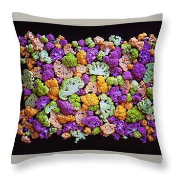 Colorful Cauliflower Mosaic Throw Pillow