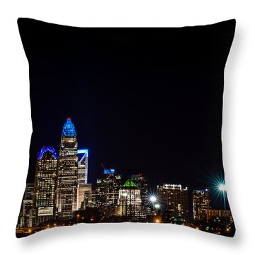Colorful Charlotte, North Carolina Skyline Throw Pillow