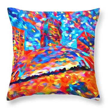 Throw Pillow featuring the painting Colorful Chicago Bean by Dan Sproul