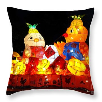 Throw Pillow featuring the photograph Colorful Chinese Lanterns In The Shape Of Chickens by Yali Shi