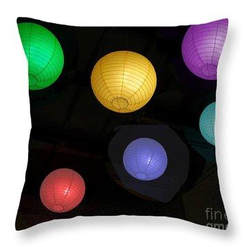 Colorful Chinese Lanterns Throw Pillow