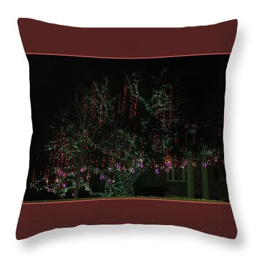 Throw Pillow featuring the digital art Colorful Christmas Lights by Ellen Barron O'Reilly