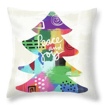 Colorful Christmas Tree- Art By Linda Woods Throw Pillow