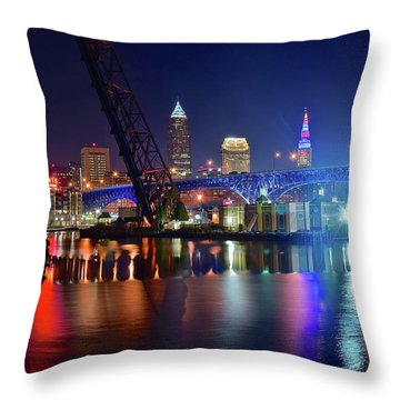 Throw Pillow featuring the photograph Colorful Cleveland Lights Shimmer Bright by Frozen in Time Fine Art Photography
