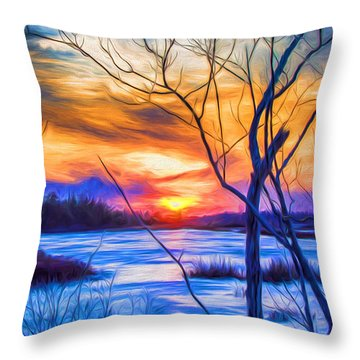 Colorful Cold Sunset Throw Pillow