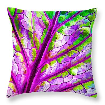 Throw Pillow featuring the digital art Colorful Coleus Abstract 1 by ABeautifulSky Photography