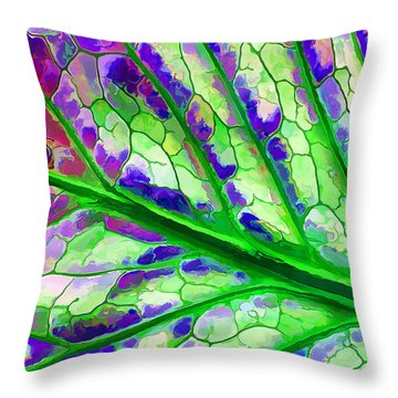 Throw Pillow featuring the digital art Colorful Coleus Abstract 4 by ABeautifulSky Photography