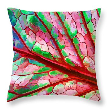 Throw Pillow featuring the digital art Colorful Coleus Abstract 5 by ABeautifulSky Photography