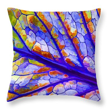 Throw Pillow featuring the digital art Colorful Coleus Abstract 6 by ABeautifulSky Photography