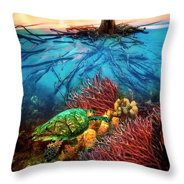 Throw Pillow featuring the photograph Colorful Coral Seas by Debra and Dave Vanderlaan