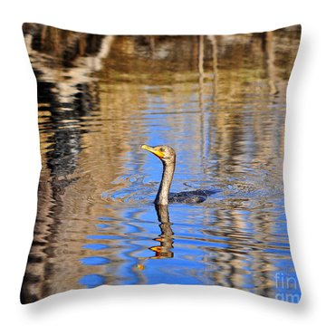 Throw Pillow featuring the photograph Colorful Cormorant by Al Powell Photography USA