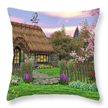 Colorful Country Cottage Throw Pillow