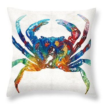 Colorful Crab Art By Sharon Cummings Throw Pillow