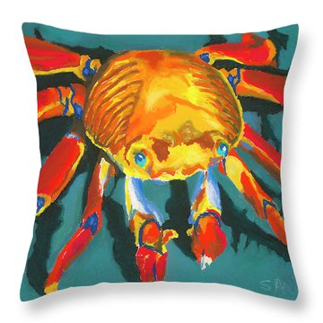 Colorful Crab II Throw Pillow by Stephen Anderson