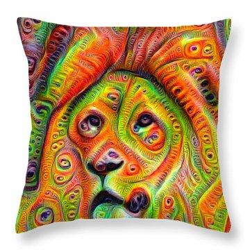 Colorful Crazy Lion Deep Dream Throw Pillow