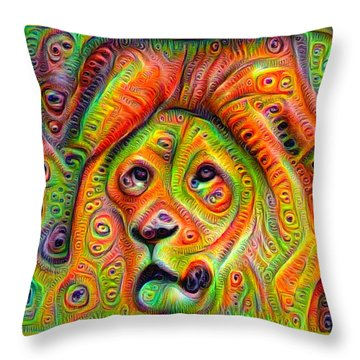 Colorful Crazy Lion Deep Dream Throw Pillow
