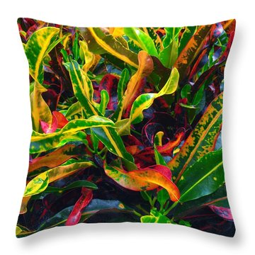 Colorful Crotons Throw Pillow