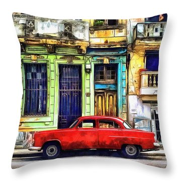 Throw Pillow featuring the painting Colorful Cuba by Edward Fielding