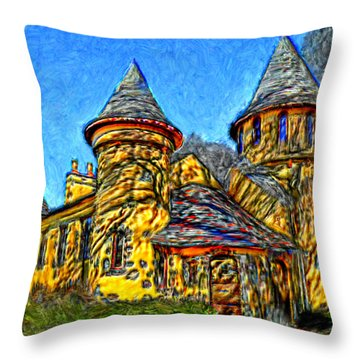 Colorful Curwood Castle Throw Pillow by Bruce Nutting