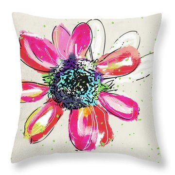 Colorful Daisy- Art By Linda Woods Throw Pillow