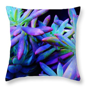 Colorful Dancing Succulents Throw Pillow