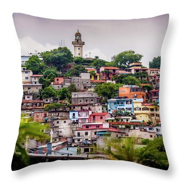 Colorful Houses On The Hill Throw Pillow