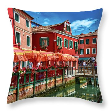 Colorful Day In Burano Throw Pillow