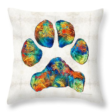Colorful Dog Paw Print By Sharon Cummings Throw Pillow