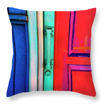 Colorful Doors Real And Otherwise Throw Pillow