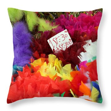 Colorful Easter Feathers Throw Pillow