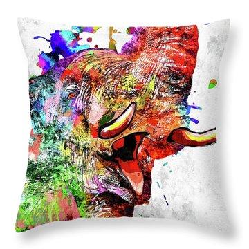 Colorful Elephant Throw Pillow by Daniel Janda
