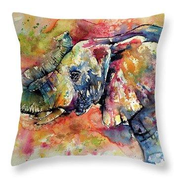 Colorful Elephant II Throw Pillow