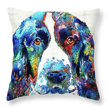 Colorful English Springer Spaniel Dog By Sharon Cummings Throw Pillow